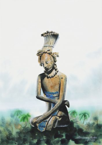 mayan-statue-12-12-x-18-watercolor-by-terrance-taylor-185