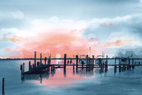 Hutchinson Island Sunset Water Color Print
