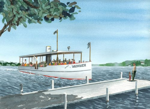 Walworth Mail Boat Watercolor Print